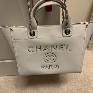 Chanel deauville white leather studded tote